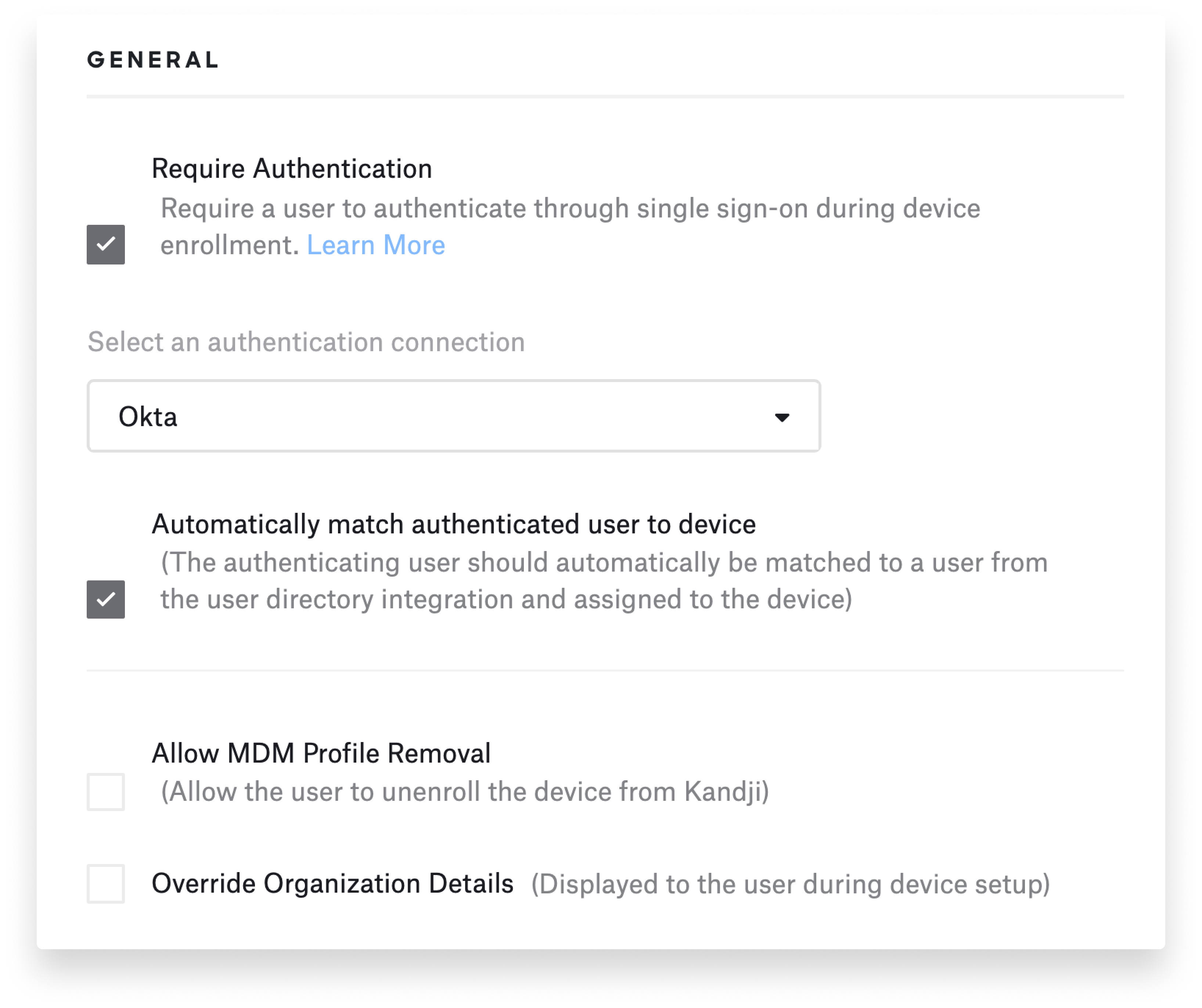 Configuring enrollment customization