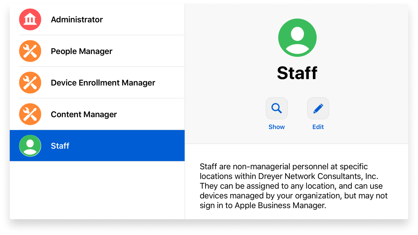 Creating a new Staff role in Apple Business Manager