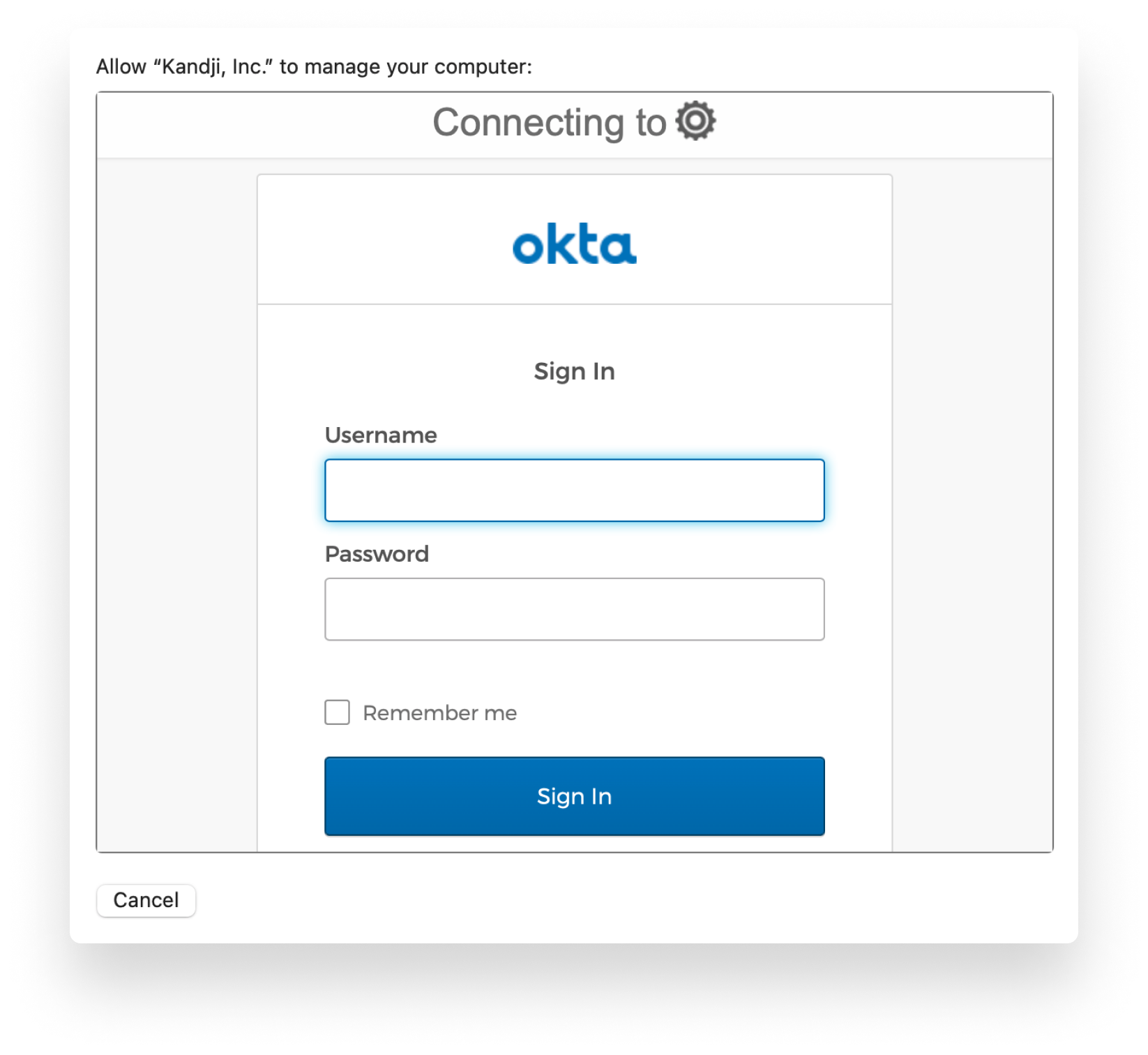 Okta sign-on