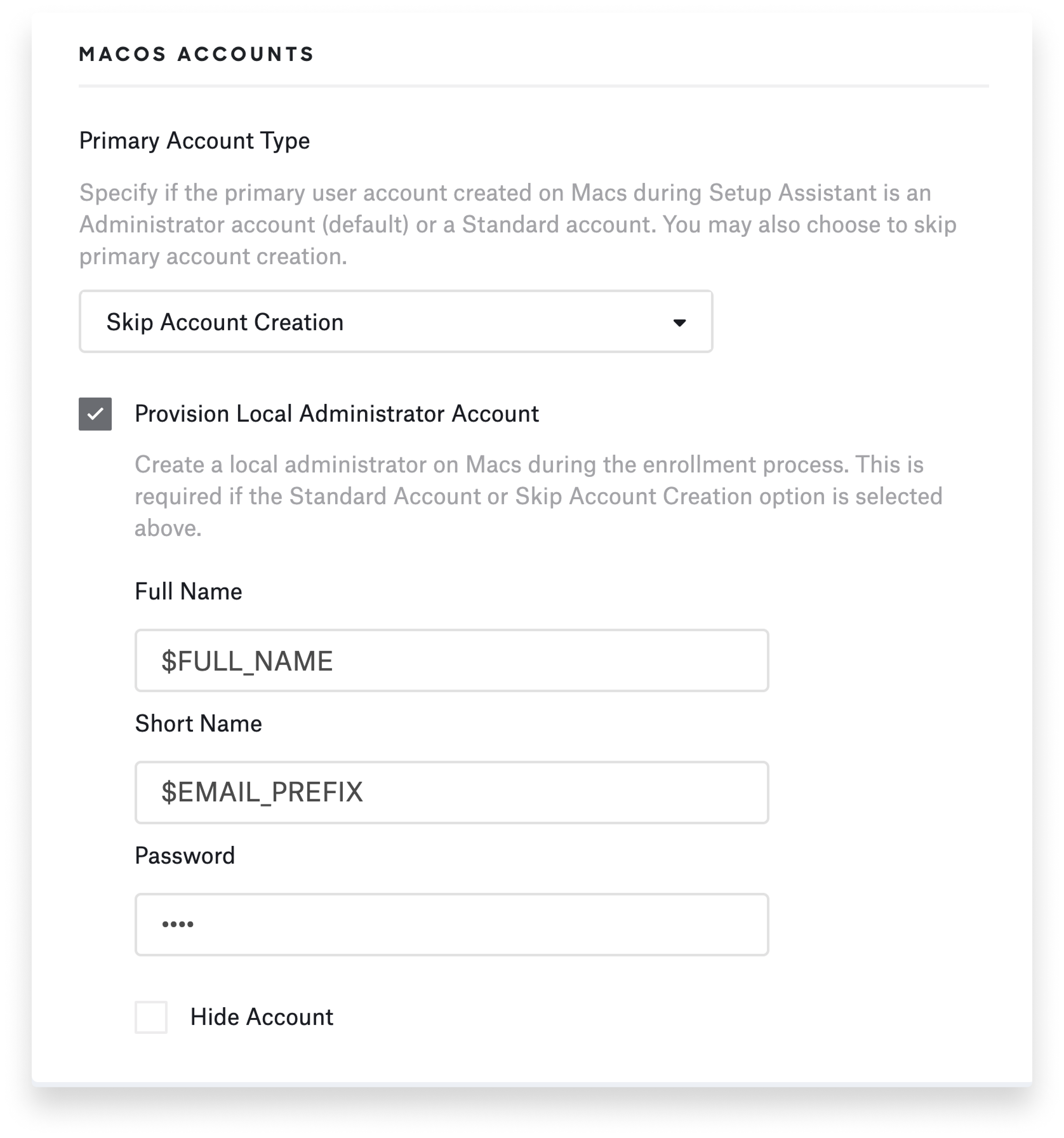 Provision local administrator account with global variables