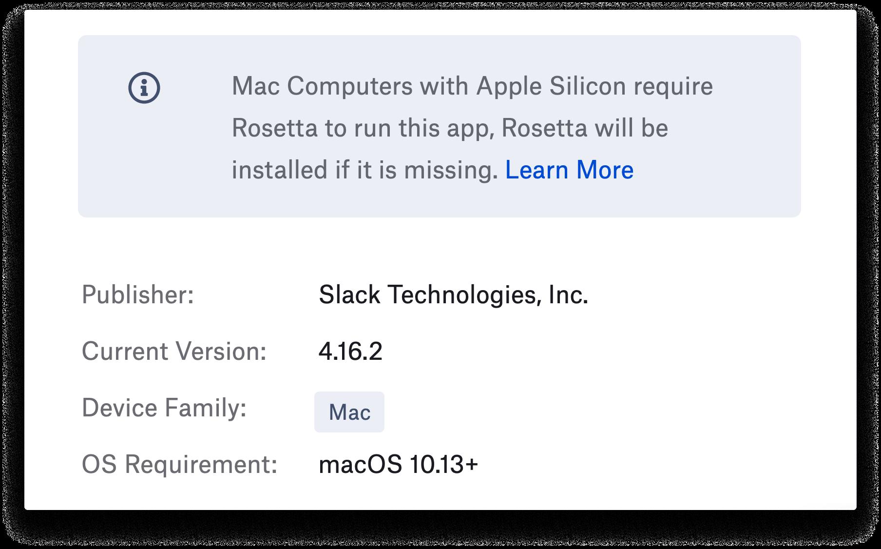 Kandji Auto Apps Rosetta 2 alert