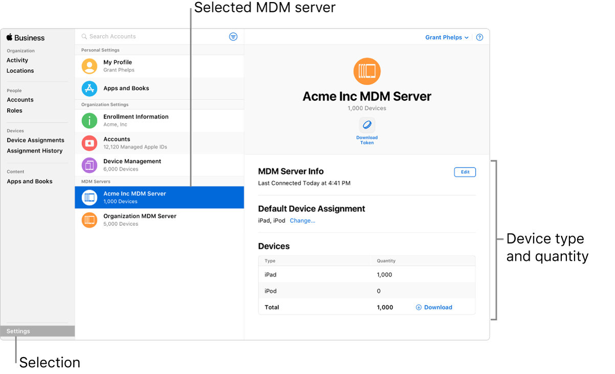 add mdm server apple business manager