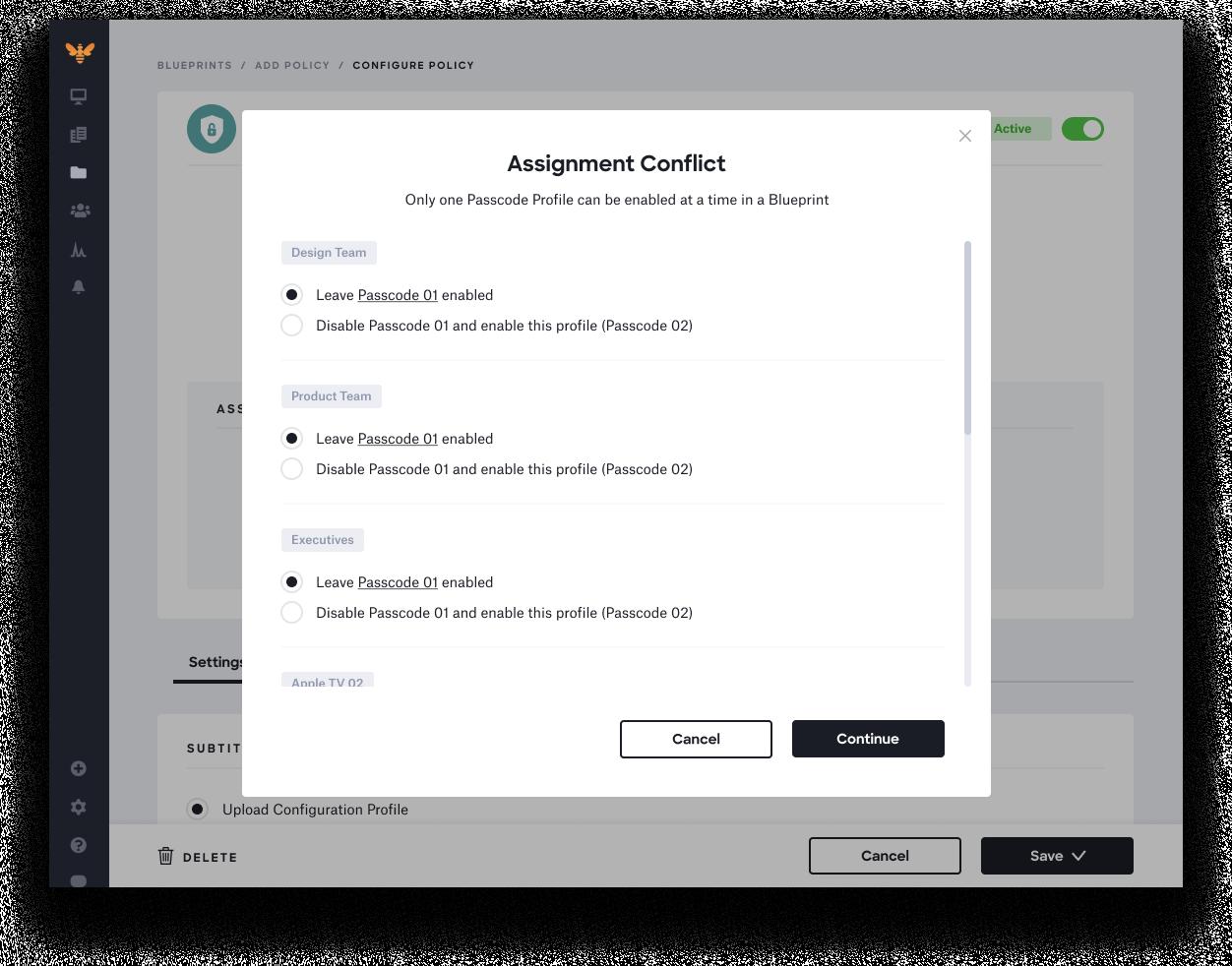 apple MDM profiles reinvented - error assignment conflict