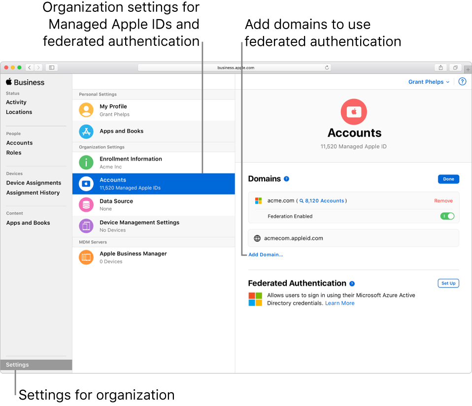 apple business manager federation azure ad