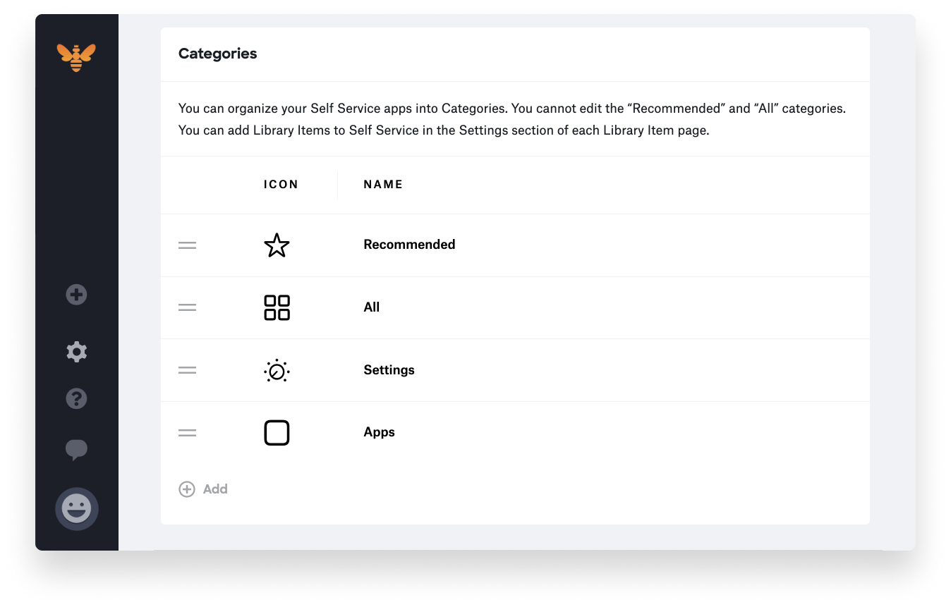 customizing self service - categories