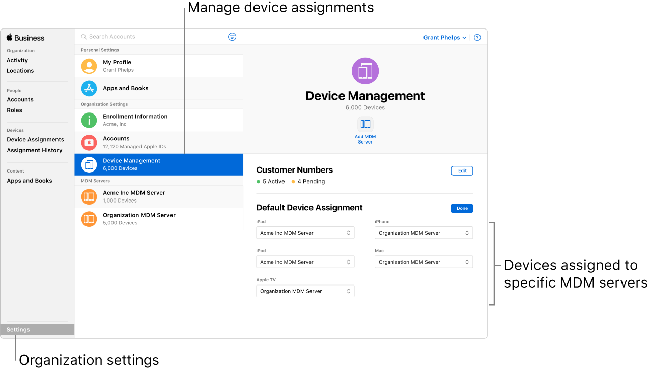 devices assigned in apple business manager
