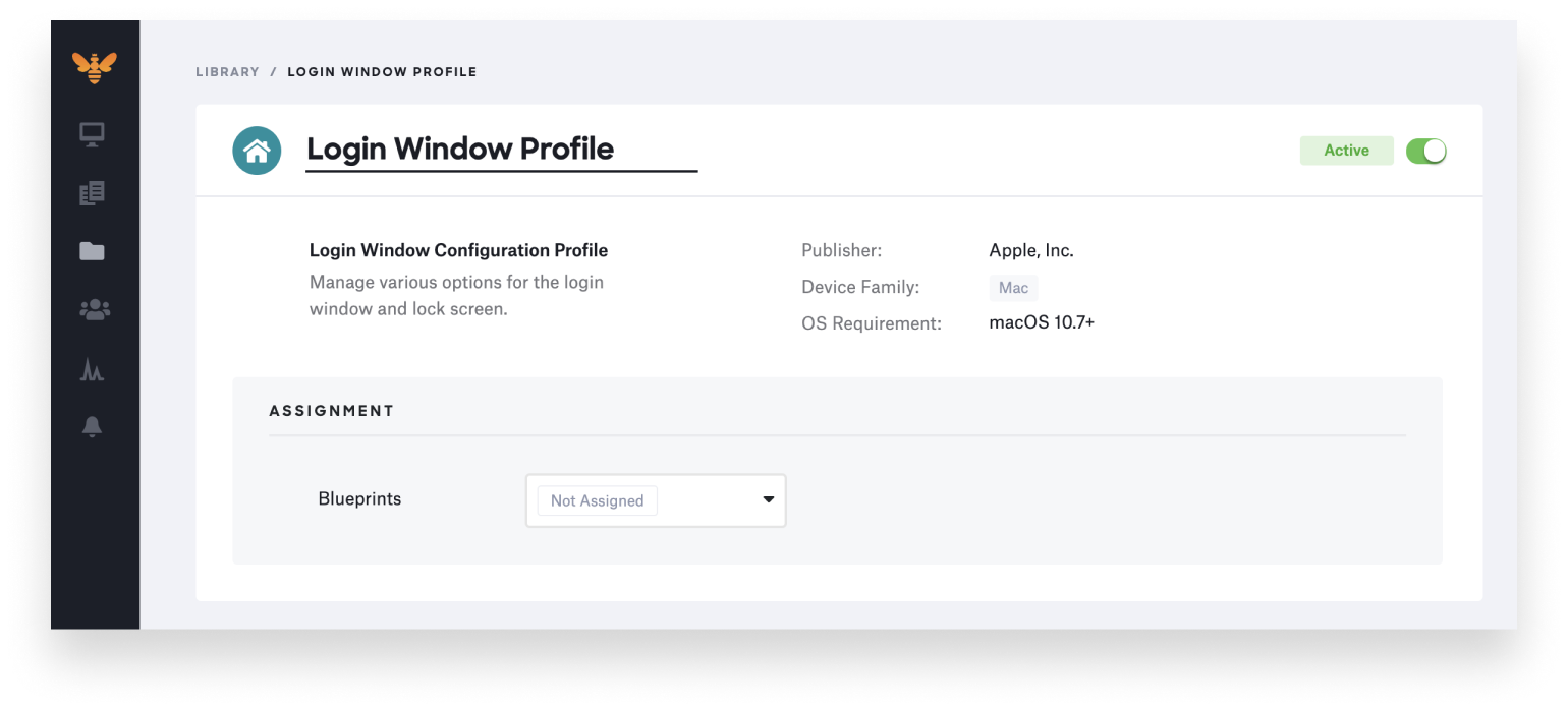 kandji login window profile