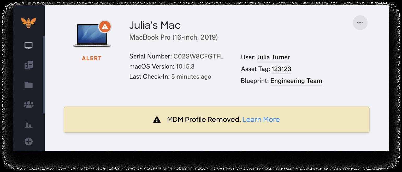 mdm profile removed alert uamdm