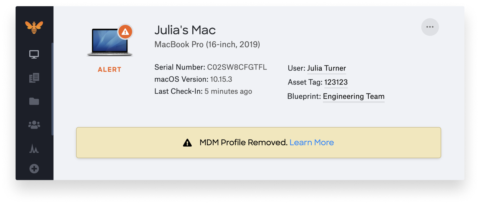 mdm profile removed alert