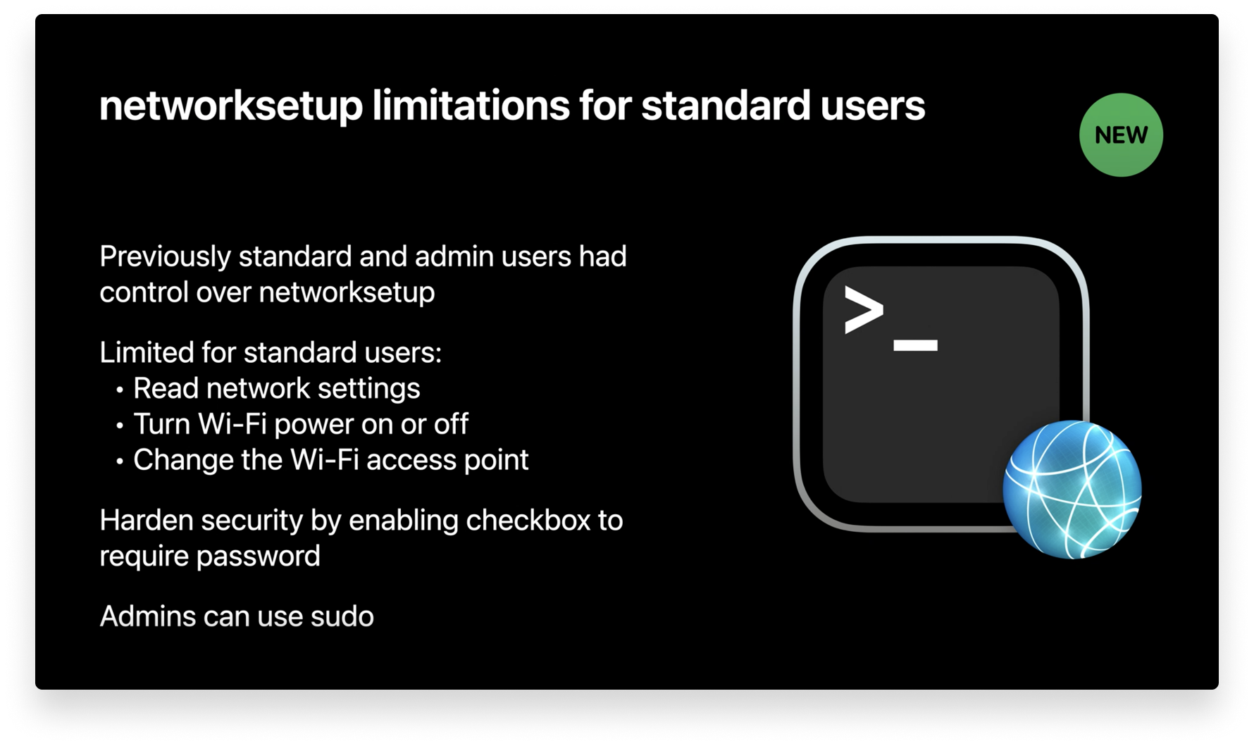 networksetup limitations for standard users
