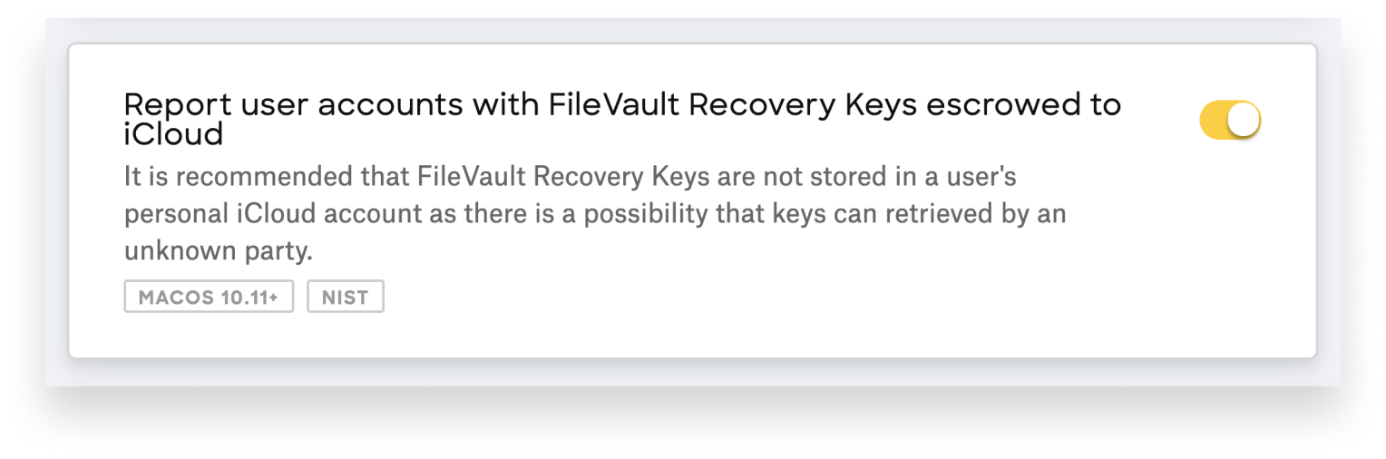 report user accounts with filevault recovery keys escrowed
